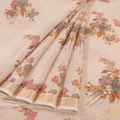 Printed Beige Linen Tissue Silk Saree With Zari Border, Floral Motifs 10015444 - profile - AVISHYA.COM