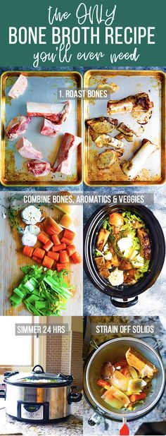 This bone broth recipe is a nutritional superhero that is packed full of vitamins minerals and collagen. Learn how to make bone broth with beef chicken or turkey bones and how to cook it on the stove in a slow cooker or in an Instant Pot. Slow Cooker Recipes, Beef Recipes, Soup Recipes, Cooking Recipes, Health Recipes, Recipes With Beef Bones, Dinner Recipes, Slow Cooking, Crockpot Meals