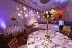 Disney Fairy Tale Wedding Reception in The Grand Floridian Convention Center with light-up dance floor and pipe and draped walls