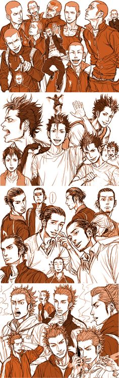 Haikyuu!! ~~ Sketches of Tanaka, Nishinoya, Asahi, and Ukai. :: Can anyone please tell me who the artist is and where I can find more of this awesomeness? Wow...