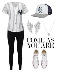 """Baseball player costume ⚾️"" by pineapple6 ❤ liked on Polyvore featuring Boohoo, Majestic, Converse, '47 Brand, Messika and Jankuo"