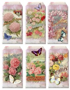 Paper Crafts – Vintage Pieces for Collage/Altered Art – Seed Packet Hanging Tags and Flower Pngs – Ammey's Art Attic Vintage Tags, Vintage Frames, Papel Vintage, Vintage Labels, Vintage Ephemera, Vintage Paper, Vintage Prints, Vintage Flowers, Vintage Floral