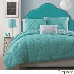 Beautiful Modern Reversible Teal Blue Aqua Chevron Stripe Ruffled Comforter Set | eBay