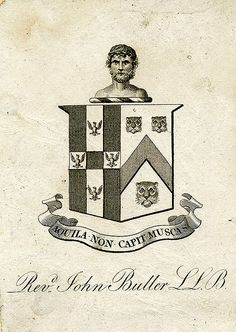 Bookplate of Reverend John Buller   Description: States, 'Revd. John Buller L.L.B' with motto 'Aquila non capit muscas;' features a shield with four eagles displayed, three lion masks, and a chevron stripe. The crest features a Saracen's head. Unsigned. Format: 1 print, col., 10 x 7 cm. Source: Pratt Institute Libraries, Special Collections 156 (sc00702) Pratt Libraries Website For inquiries regarding permissions and use fees, please contact: rightsandrepro.library@pratt.edu.