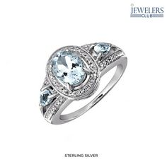 1.4 Carat Total Weight Genuine Aquamarine & 1/20ctw Diamond Ring in Sterling Silver at 89% Savings off Retail!