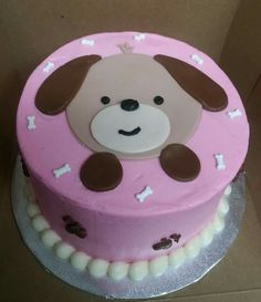 Pink and brown puppy smash cake