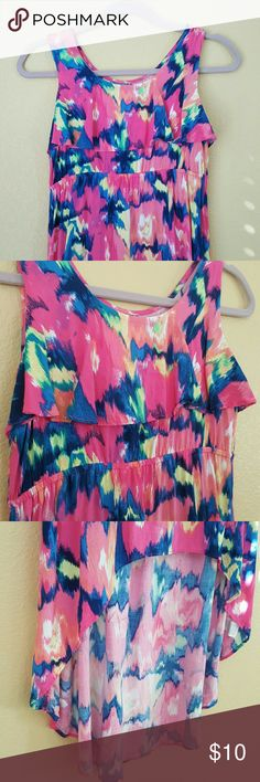 """Fun & Girly Print Hi-low Dress Perfect for warm sunny days! Fun colorful print dress with hi-lo hem and elastic empire waist. Lightweight 100% Rayon. Length center front 26"""". Length center back 41"""". Never worn. Children's Place Dresses Casual"""