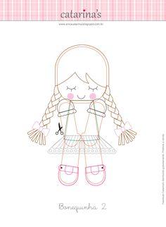Amigas do Feltro: O passo-a-passo e os moldes das bonequinhas Erica Catrarina