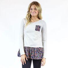 Sweatshirt - Grey - Floral