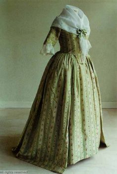 Robe à l'Anglaise worn à la Polonaise, 1780-1800. Green and cream striped silk brocaded with floral sprays.