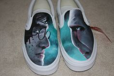 Harry Potter and the Deathly Hallows Hand Painted Vans. $140.00, via Etsy.