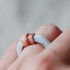 Leather ring with crochet