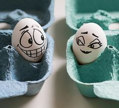 Funny eggs with faces drawn on them, egg art, and easter eggs.