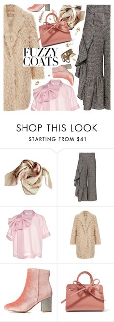 """""""Keep it Cozy: Fuzzy Coats"""" by ladysnape ❤ liked on Polyvore featuring Burberry, Rachel Comey, Dice Kayek, Charlotte Russe, Mansur Gavriel and Cartier"""