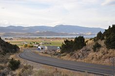 First glimpse of Bear Lake, Utah as you round the bend...