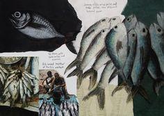 An outstanding International GCSE Art sketchbook + final painting (Coursework project). Analysis by an experienced Art Teacher and Coursework Assessor. Sketchbook Layout, Gcse Art Sketchbook, Sketchbook Inspiration, Fashion Sketchbook, Sketchbook Ideas, Sketching, Books Art, Natural Form Art, Sea Life Art
