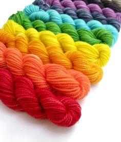 Hand Dyed Yarn - 10 Classic Sock Yarn Mini Skeins in Summer Rainbow on Etsy $26.00/Sunrise Fiber Co.