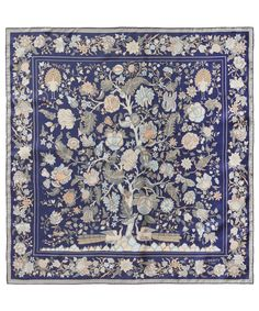 Navy Tree of Life Print Silk Scarf, Liberty London Scarves.