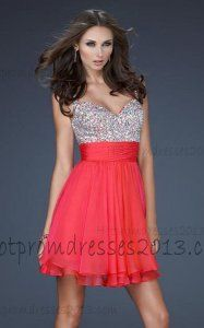 2013 Two Strap Short Prom Dress Watermelon with Sequin
