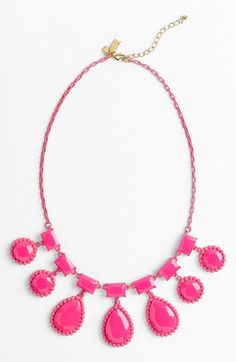 kate spade new york 'painted jewels' bib statement necklace Fluorescent Pink