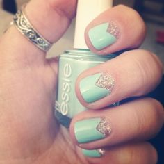 Pink Glitter with Mint Nails