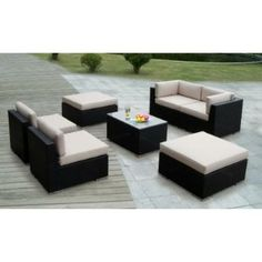Ohana Collection Genuine Ohana Outdoor Patio Wicker Furniture 7pc All Weather Gorgeous Couch Set with BEIGE CUSHION 1650
