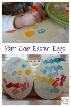 Paint Chip Easter Eggs! Fun Spring collage craft for toddlers & preschoolers.