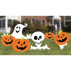 Need a spook-tacular way to decorate the lawn for Halloween? The Halloween Yard Signs bring a friendly ghost, pumpkins and a smiling skeleton to the front yard! The pack includes 5 signs made of corru