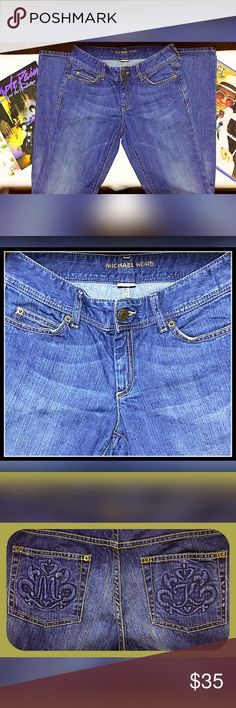 Look what I found, Vintage Michael Kors jeans Vintage Michael Kors jeans, I forgot I had them so I may have worn once. Could not find a lot of info on them but in excellent condition and the back pockets have his signature emblem in blue not gold. Could not get a pic to show true color they are a bit darker blue. They look boot cut to me. I will find more info 😊 Michael Kors Jeans Boot Cut