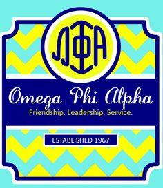 Omega Phi Alpha. I LOVE that monogram!