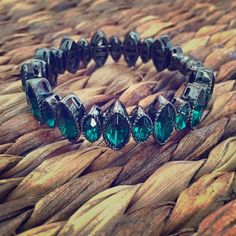 CÄRA NY Gem Bracelet Emerald green crystals in a charcoal gray metal setting, magnetic closure: strong magnet but there is slight space at the top of it when it is together. worn once, LIKE-NEW! cära ny Jewelry Bracelets