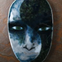 Yin and yang fused glass face. Where There by BentGlassArtStudio