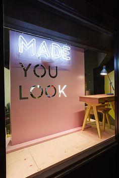 Made You Look Store Window Display Hotel Bedroom Decor, Hotel Decor, Retail Windows, Store Windows, Merchandising Displays, Module Design, Retail Store Design, Retail Stores, Store Front Design
