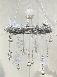 Shabby Chic Chandelier, Shabby Chic Wreath, White Chandelier, Christmas Chandelier, Vintage Christmas Ornaments, White Ornaments, Hanging Ornaments, Holiday Wreaths, Mesh Wreaths