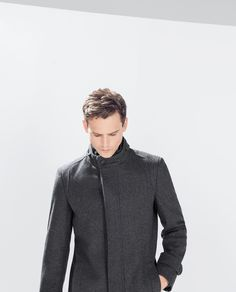 Image 3 of GREY COAT WITH KNIT COLLAR from Zara