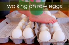 Walking on Raw Eggs - Easter Activities for Kids - from HowToHomeschoolMyChild.com
