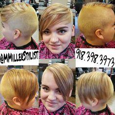 Short Hair with Blonde & Maroon Highlights @MMillerStylist #MMillerStylist #xtremesalon #brokenarrow #hair