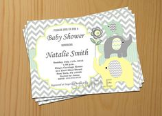 Gender Neutral Baby Shower Invitation Elephant Baby by diymyparty