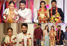 Bigg Boss Tamil contestant and actress Suja Varunee tied the knot with Shivakumar (grandson of Tamil actor Sivaji Ganesan). Suja varunee shivakumar wedding and marriage reception photos Marriage Reception, Latest Designer Sarees, South India, India Fashion, Tie The Knots, Salwar Suits, Celebrity, Actresses, Actors