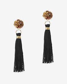 Mercedes Salazar Tassel Fringe Earrings: Black