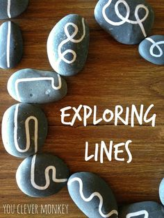 Exploring lines: using hand drawn lines on rocks for play. Challenging pre-writers to distinguish between straight and curved lines to help build their understanding of shape and help establish correct letter and number formation later.