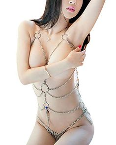 Gotron Damen Dessous Body Harness Kette Sexy Lingerie Dessous Reizwaesche String Chain Set