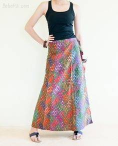 Wrap Around Sarong Pleated Long Skirt Patchwork Colorful Oriental Diamond Pattern Hippie Skirts, Wrap Around, Diamond Pattern, Dress Skirt, Oriental, Colorful, Trending Outfits, Blouse, Clothes