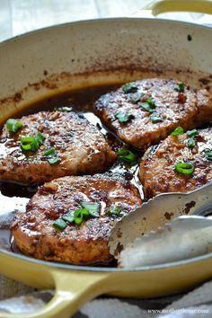 Pork Chops Korean-Style Glazed Pork ChopsGlazed tile Glazed tile may refer to: Pork Chop Recipes, Meat Recipes, Asian Recipes, Dinner Recipes, Cooking Recipes, Glazed Pork Chops, Boneless Pork Chops, Pork Ribs, Carne Asada