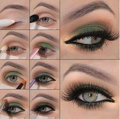 Maquillaje verde y dorado