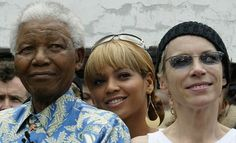 Nelson Mandela with Beyonce and Annie Lennox