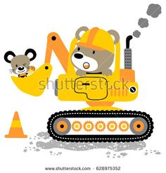 bear driving heavy tools with little mouse, vector cartoon illustrations