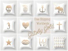 GOLD HEART Throw Pillow by Monika Strigel
