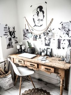 Working from home, this is my home office, eclectic workspace, white walls, black and white prints, vintage desk, Eames chair, Sukha beads. It is a mix of modern rustic, boho, scandi. https://kateyoungdesign.com/