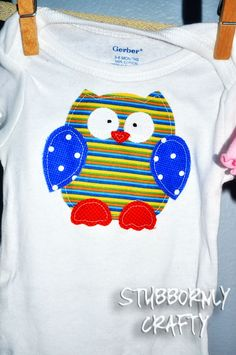 applique by hand owl baby gift, handmade, bird